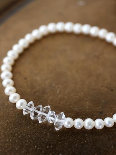 画像1: pearl herkimerdiamond bracelet