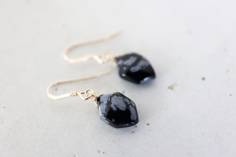 画像2: 14KGF snowflake-obsidian  pierce